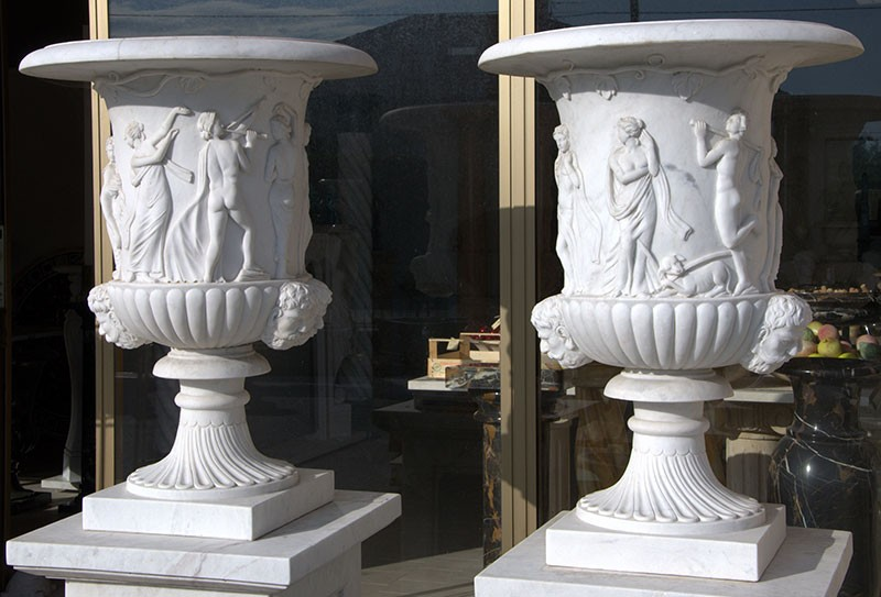 White Marble Jars Angels and Satyrs