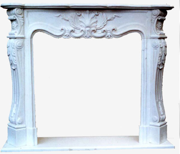 Marble Fireplace Frieze art.1. Fireplace in white Carrara marble with hand-carved ornament. The style recalls the French Louis XV fireplaces with very simple and elegant leaves and floral motifs suitable for covering your classic and prefabricated fireplaces. The measures are adaptable on specific customer request.
