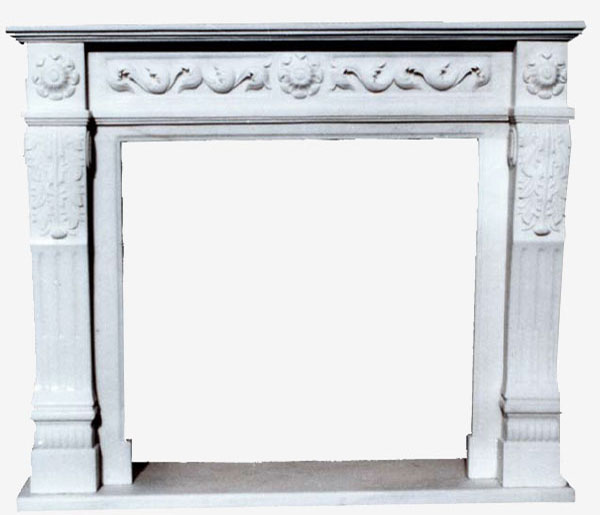 Fireplace in Marble Leaf art.5. Fireplace in white Carrara marble with hand-carved ornament that recalls the most refined French style in its simplicity. For this reason it is easy to insert in different environments, both refined and simple. The measures are adaptable according to customer needs.