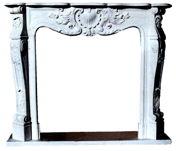 King's Marble Fireplace art.9. Fireplace in white Carrara marble with hand-made decoration. As the French style requires, the front is arched and decorated with friezes that mix the marine environment with the shell and the terrestrial one with a riot of leaves and flowers. A fireplace with a rich ornamentation suitable both to give a touch of refinement to simple and linear environments and to blend in classic environments. The measures are adaptable on customer request.