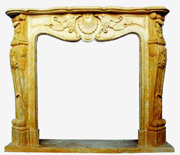 Fireplace in King Yellow Marble art.10. Fireplace in yellow imperial marble with ornament carved entirely by hand. Rich seventeenth-century French-inspired fireplace, with elements that recall nature thanks to the floral weaves and the shell.