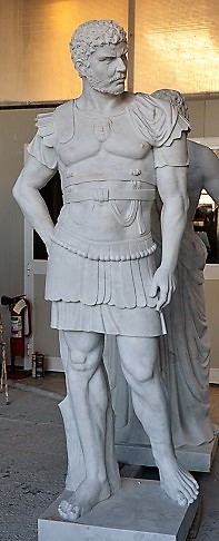 Copy of Roman general in white marble taken from the act of giving orders to the troops.