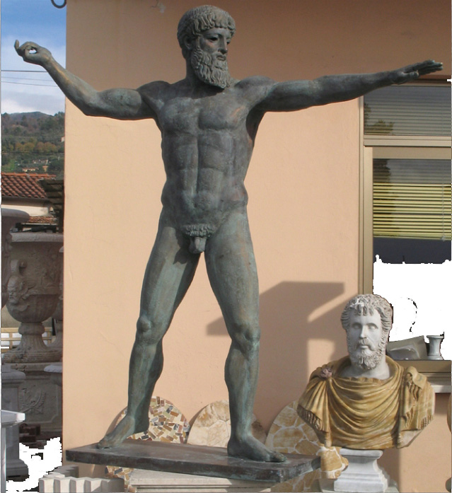 Poseidon: copy of the famous statue known as Cronide di Capo Artemisio, found on the seabed in present-day Euboea. The original preserved in the National Archaeological Museum of Athens is one of the few original bronze works of the time. Our copy, if desired, can be supplied with a trident, always in bronze.