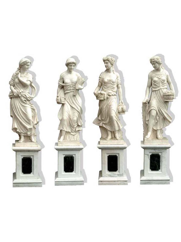 The Four Seasons, carved in white marble, symbolize the passage of time from one season to another; wood for winter, roses for spring, wheat for summer and grapes for autumn, a sculpture classic.