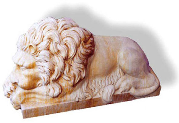 The lions are part of the funeral monument of Clement XIII, in the Basilica of San Pietro in Vatican. Carved by hand in marble.