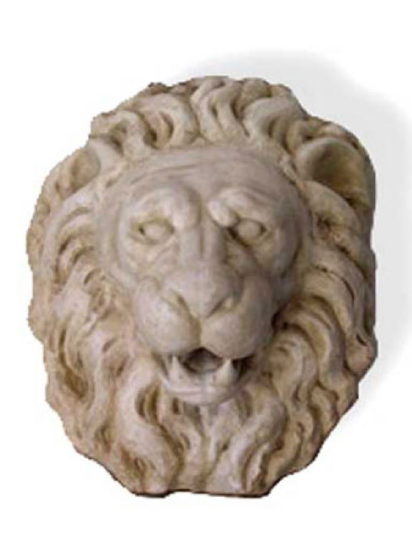 Hand carved lion head in Carrara white marble and antique patina. Upon request we can make a small hole inside the mouth so that it can be used as an ornament of a wall fountain and to let the water out easily by placing a tube. It is also possible to reproduce it in sizes requested by the customer himself and in other materials such as travertine.